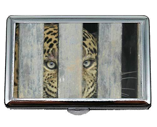 Portasigarette Custodia tascabile per 14 sigarette, gabbia per leopardo leopardo zoo Custodia per biglietti da visita, mantieni i tuoi biglietti da visita puliti