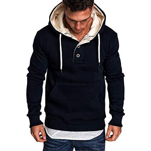 Aoogo Herren Sweatshirt Langarm Kapuzenpullover Pullover Hoodie Hoher Kapuzenansatz Känguru-Tasche Gerippte Ärmel und Casual Streetwear Basic Style