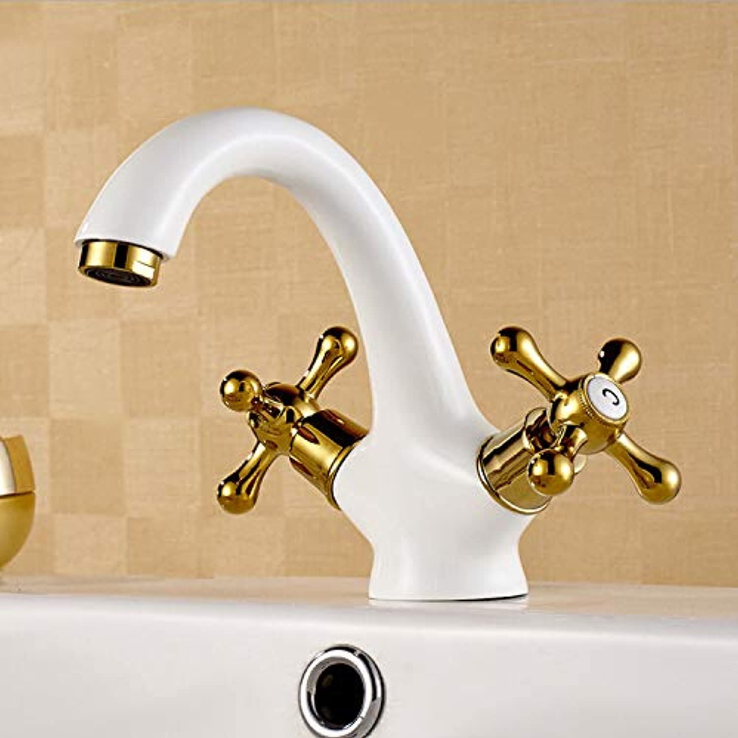 redOOY Basin hot and cold water faucet all copper white double-sided basin hot and cold water faucet sitting single hole white gold basin washbasin