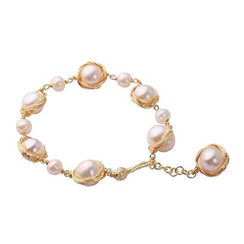 XXX Pulsera de perlas barrocas chapada en cobre de oro de 14 quilates con temperamento extendido