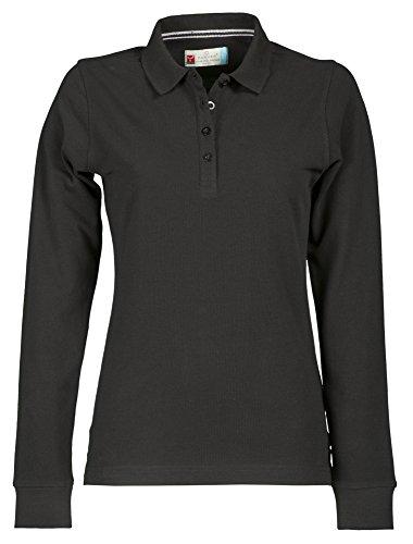 Damen Langarm Polohemd Baumwoll Piquet Polo-Shirt Longsleeve Modell Florence Black M