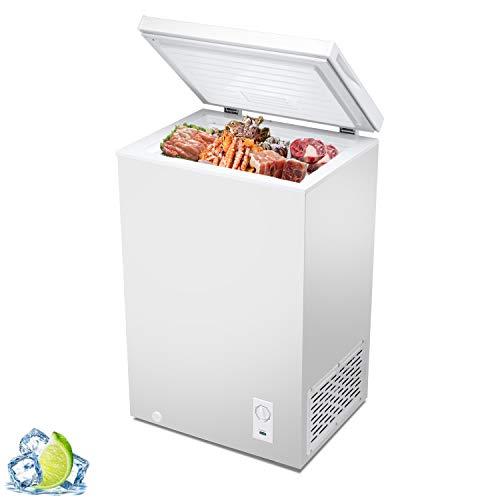 R.W.Flame Chest Freezer 2.8 Cubic Feet, Deep Freezer,Adjustable Temperature,Energy Saving,Top open Door Compact Freezer,White