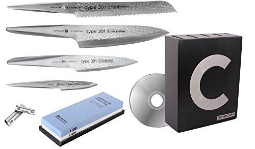 CHROMA Type 301 Set, Messerblock mit 4 Messern gehämmert, Schleifstein, Schleifhilfe