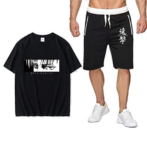shownicer Japanische Anime Attack On Titan Herren T-Shirt + Kurze Hose Set 3D Druck Sport Suit Lose Sweatshirt Unisex Kurzärmelige Casual Shorts Fünf Punkt Hosenanzug B Schwarz Schwarz XXL