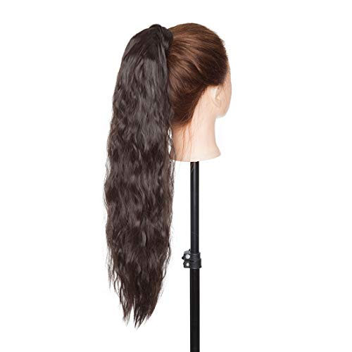 Long Corn Wave Wrap Around Ponytail Extension with Hair Pocket Kinky Wavy Curly Pony Tails Hair Extensions Magic Paste Yaki High Ponytail For Girl Lady Women 20 Inch Dark Brown