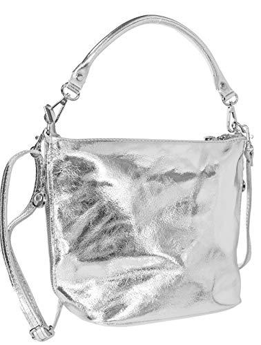 Echt Leder Ledertasche Damentasche Schultertasche Umhängetasche (Silber)