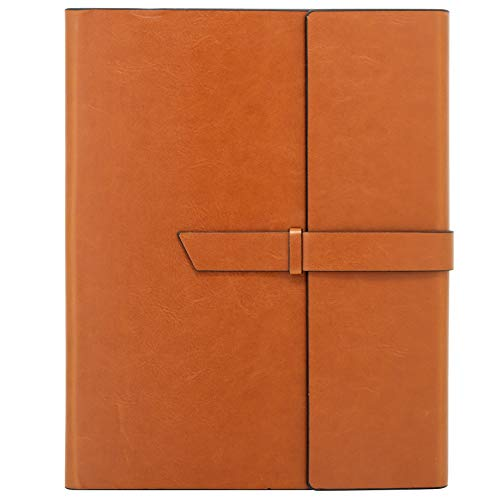 Vegan Leather Padfolio Portfolio Folder – Slim Portfolio Notebook & Business Card Holder for 8.5x11 in. Note Pads, Legal Pads – Refillable Business Organizer by Gallaway Leather, Brown…
