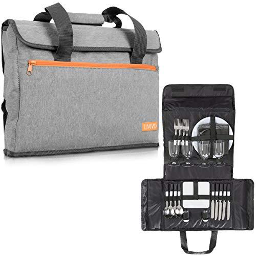 LIVIVO Picknickkorb für 4 Personen, mit Handtaschen-Set – inklusive Besteck, Teller, Servietten, Weingläser, Flaschenöffner, Käsebrett – ideal für Garten, Grillpartys, Outdoor, Camping