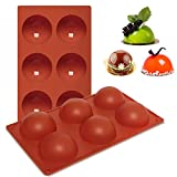 AYCLIF 6 Holes Silicone Molds, 2 Pack Half Round Shape Baking Molds for Making Hot Chocolate Bomb, Cake, Jelly, Candy, Non Stick Semi Sphere Chocolate Molds for Kitchen Cakehouse DIY Brown
