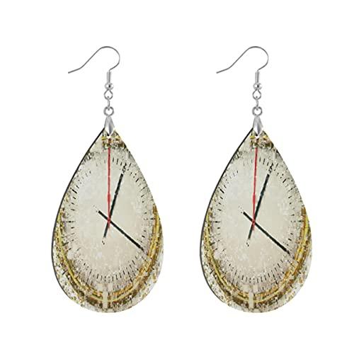 1 par de pendientes de madera con forma de gota de agua y distorsión del tiempo y reloj de rejilla de madera pintada para mujeres, Teardrop, Madera Cobre Plata,