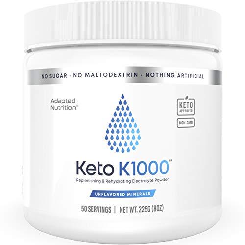Keto K1000 Electrolyte Powder | Mineral Taste Only | Boost Energy & Beat Leg Cramps | No Maltodextrin, No Sugar, No Stevia | 50 Servings