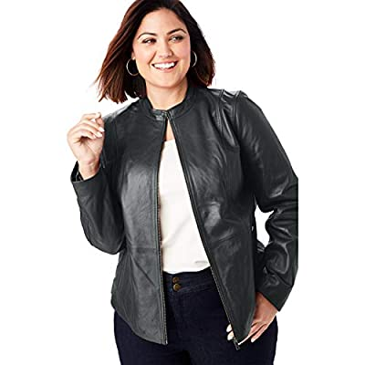 Jessica London Women's Plus Size Zip Front Leather Jacket - 20 W, Black