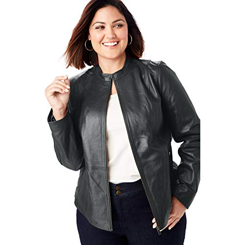 Jessica London Women's Plus Size Zip Front Leather Jacket - 22 W, Black