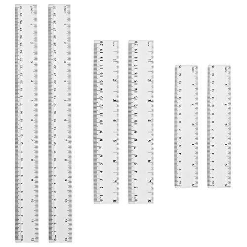 6 Stück Transparente Lineal aus Kunststoff 15cm 20 cm 30cm für Büro Schule Messwerkzeug Doppelseitig Plastiklineal