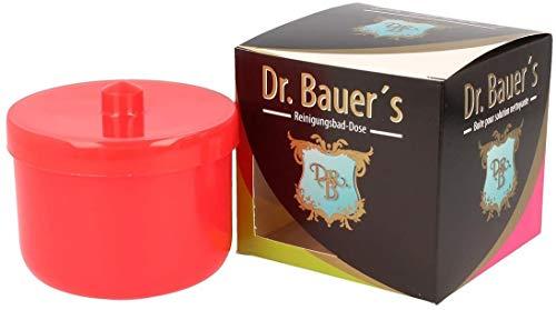 Dr. Bauer´s Reinigungsbad-Dose mit Klarspüleinsatz | Prothesendose | Gebissdose | Prothesendose mit Einsatz | Zahnspangendose (orange)