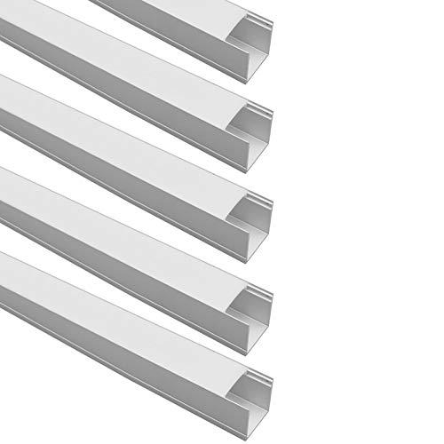 lightingwill Argenté U Forme interne Largeur 20 mm profil Aluminium Système LED avec housse, embouts et clips de fixation pour LED Bande Lumière installations - U06S-10x1M-Pack