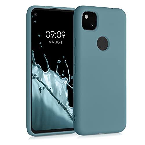 kwmobile Slim Hülle kompatibel mit Google Pixel 4a - Hülle Silikon Handy - gummiert - Handyhülle Arctic Blue