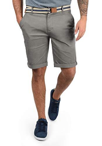 !Solid Monty Chino Pantalón Corto Bermuda Pantalones De Tela para Hombre con Cinturón Elástico Regular-Fit, tamaño:L, Color:Mid Grey (2842)