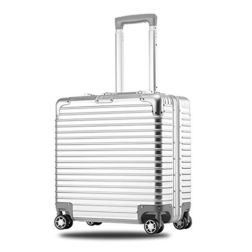 GNNHY Rollende Laptop Case Pilot Carry-on Trolley Handgepäck, tragbare Mini-Aktenkoffer Compact Overnighter Reise Totes 18 Zoll 43x42x20cm,Silber