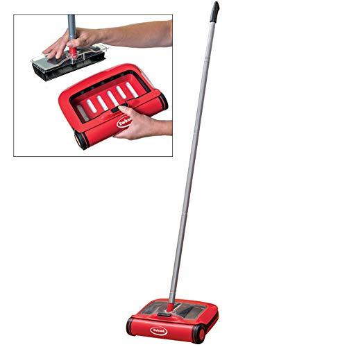 Ewbank 310 Handmatige veegmachine en stofzuiger, rubberen messen voor het reinigen van harde vloeroppervlakken, gemakkelijk losgemaakte stofbak, rood, één maat