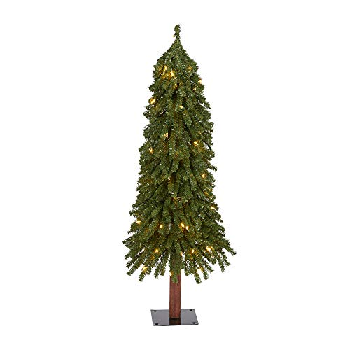4ft. Grand Alpine Artificial Christmas Tree with 100 Clear Lights and 361 Bendable Branches on Natural Trunk