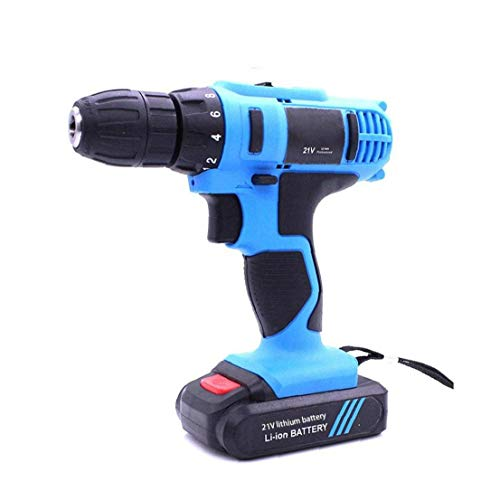 Berrywho Driver Rechargeable Wireless Mini Cordless 21v Drill Multifunctional Household Tool for Brick Wood Steel Concrete Masonry Blue Cordless Drill