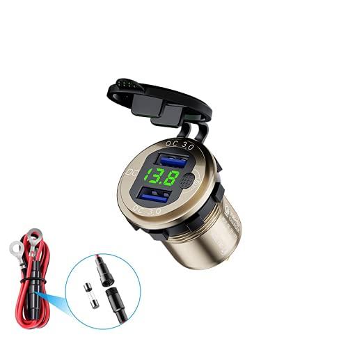 HUIYAN Cargador USB Dual QC3.0 para Coche Enchufe USB para Coche de 12V-24V Adaptador de Coche para Motocicleta con Pantalla LED de Batería