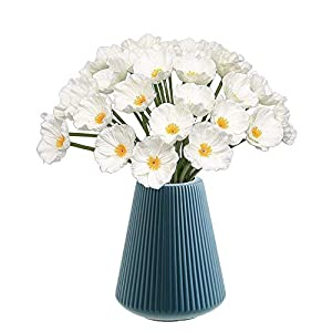 CHAMER Artificial Orange Poppy Flowers-Fake Flower Decorative Flower+Real Touch PU Poppies Fake Flowers for Wedding Party Home Office DIY Hotel Decoration(White)(vase not Include)