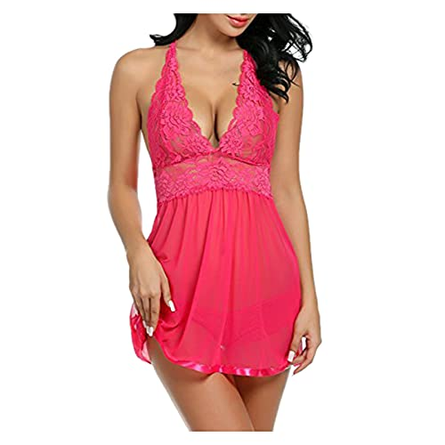 Lencería Sexy Mujer Gordita Suelto Vestido de Malla para Falda de Diamantes Ropa Interior de Moda Casual Sujetador Noche Juego de Pijama