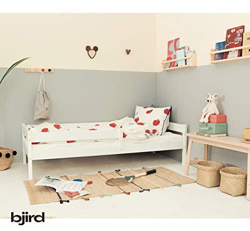 Kinderbett Jugendbett - Bett für Kinder - Weiß aus Holz - Kiefer Massiv - Rausfallschutz - für Mädchen und Junge - Kakadu 160 x 80 cm