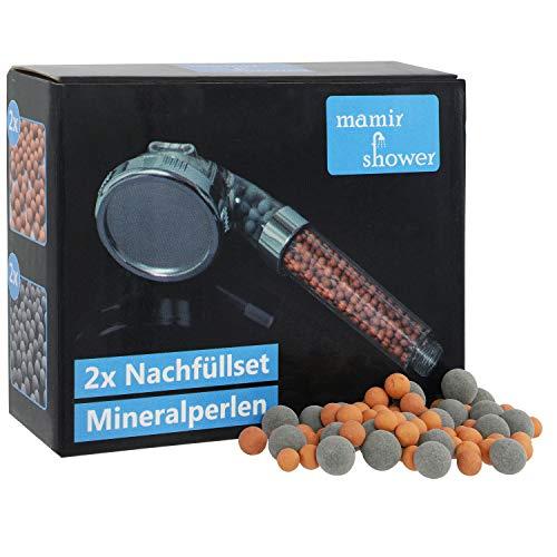 Doppelpack Ionic Filter Nachfüllset für den Kalkfilter Spa Duschkopf von mamir shower. Das Set beinhaltet jeweils 2 Nachfülleinheiten für den Zen Shower Oasis. Ein Satz hält ca. 10 Monate