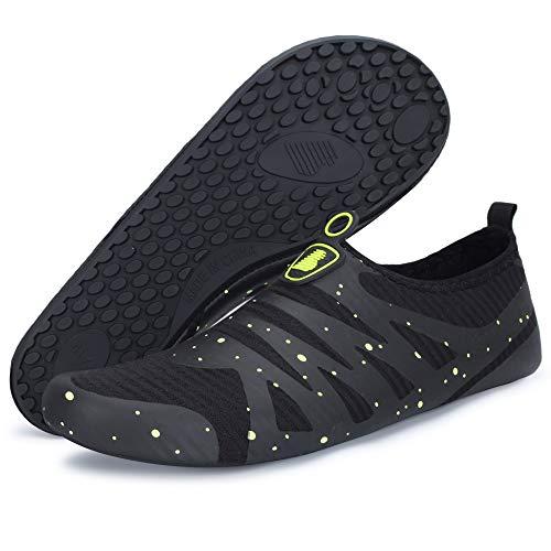 Barerun Water Sports Shoes Barefoot Quick-Dry Aqua Yoga Socks Slip-on for Men Women Black 4.5-5.5 Women/3-4 Men