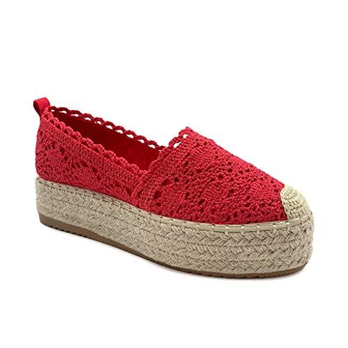 Angkorly - Damen Schuhe Espadrille - Plateauschuhe - romantisch - Spitze - mit Stroh Flache 4 cm - Rot 6 YT190 T 40
