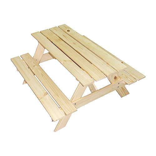RM E-Commerce - Mesa de picnic para 4 niños - Mesa de jardín color natural - Juego de mesa para exteriores (90 cm)