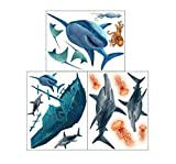 Create-A-Mural Shark Wall Decals ~Awesome Shark Sea Life & Sunken Pirate Ship Great White & Hammerhead Shark Wall Stickers, Vinyl Art for Boys Room Decor Peel & Stick Bedroom Art, Playroom Birthday
