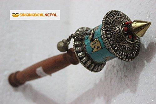 Buddhist Coper & Stone Set Hand-held Prayer Wheel - 8.5 Inch with Authentic Wooden Handle
