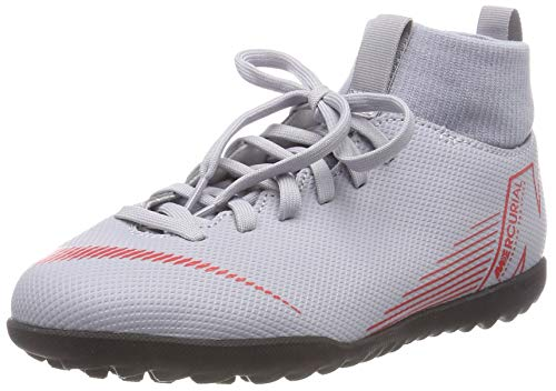 Nike JR SUPERFLYX 6 Club TF, Scarpe da Calcetto Indoor Unisex-Adulto, Multicolore (Wolf Grey/Lt Crimson/Black 060), 38 EU