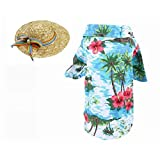 Rurumi 犬用 猫用 アロハシャツ 麦わら帽子 セット 涼しい 通気性 クール Tシャツ ペット用 アロハ シャツ パイナップル (L, グリーン)