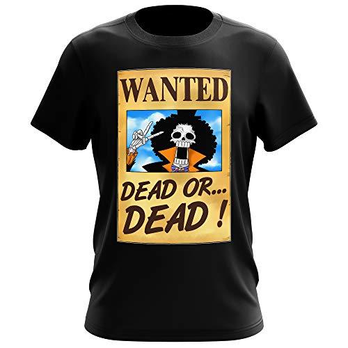 T-Shirt Noir One Piece parodique Brook Wanted : Un Wanted Qui Tue !! YOHOHOHO !!! (Parodie One Piece)