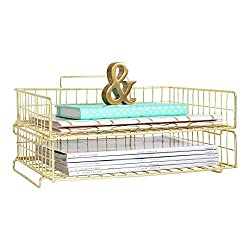 Blu Monaco Gold Desk Organizer Stackable Paper Tray Set of 2 - Metal Wire Two Tier Tray - Stackable Letter Tray - Inbox Tray for Desk