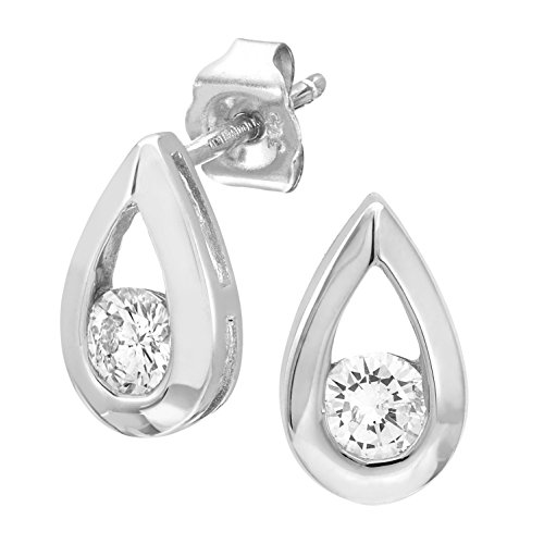 9ct wit goud derde karaat diamant traan druppel oorbellen