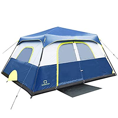 QOMOTOP Camping Tent, 8 Person Instant Set Up Within 1 Minute Tent Equipped with Rainfly and Carry Bag, Water-Proof Tent Electric Cord Access, Cabin Style Tent, Delivered Within 3-5 Working Days