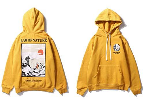 Hoodies Japanische Stickerei Lustige Katze Welle Gedruckt Fleece Winter Japan Style Hip Hop Lässige Sweatshirts Streetwear,L-B