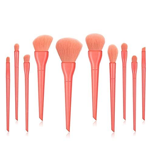 10 peças de pincéis de maquiagem para base, pó, blush, sombra, corretivo, lábios, maquiagem, cosméticos, ferramenta de beleza (tamanho : vermelho)