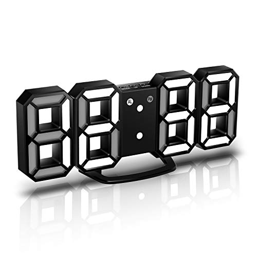 CENTOLLA 3D LED Digital Alarm Clock, Orologio da Parete, Orologio Digitale, Timorn 3D LED Alarm Clock con 3 Livelli di luminosità Regolabile Dimmable Nightlight Snooze Funzione per Home Kitchen Office
