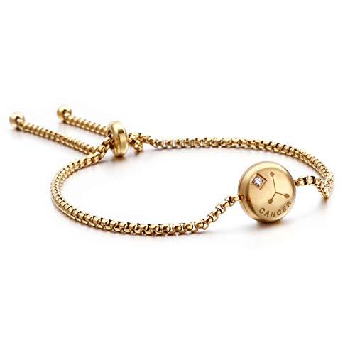 Qings Pulsera chapada en Oro Exclusiva de Cáncer Zodiaco Constelaciones Horóscopo Astrología Ajustable con circonita Brillante para Mujeres y niñas