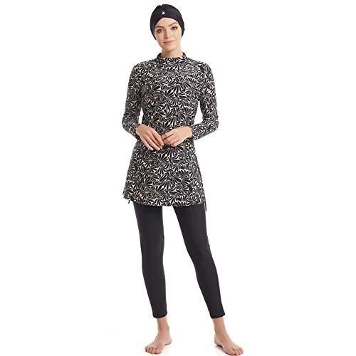 seafanny Muslimische Bademode für Damen, islamischer Badeanzug, 3-teiliger Ganzkörper-Hijab, Burkini, schlichter Badeanzug Gr. S ( Größe 32-36), Schwarz