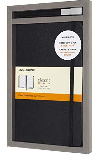Moleskine Set con Taccuino e Penna Roller Gel Plus, Cofanetto con Penna Nera + Notebook a Righe, Copertina Rigida, Colore Nero, Formato Large 13 x 21 cm, 240 Pagine
