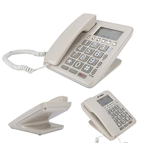 DAUERHAFT Teléfono Fijo con Cable Durable para Usar Teléfono de Escritorio de diseño de Doble Puerto, para Oficina, para Hotel, para Familia