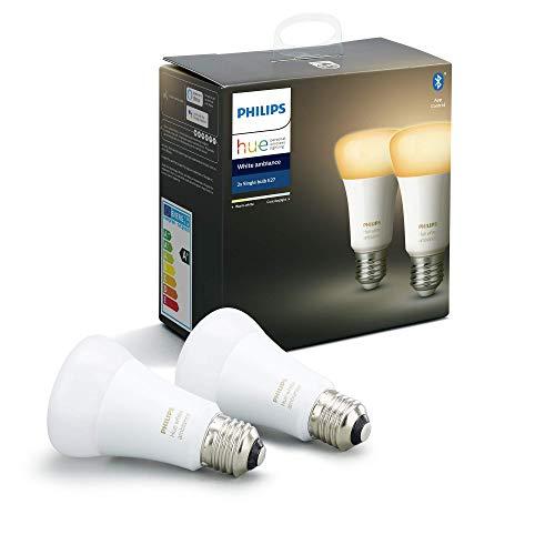 Philips Hue White Ambiance Pack 2 bombillas LED inteligentes E27, luz blanca de cálida a fría, compatible con Bluetooth y Zigbee (Puente Hue opcional), funciona con Alexa y Google Home